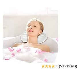 HandSonic Bath Pillow   Non-Slip Bath Pillow with New Waterproof Material   Spa Pillow for Tub Neck and Back Support  Fits All Bathtub, Hot Tub, Jacuzzi and Home Spa