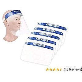 10 Pcs Safety Transparent Face Cover Shield | Reusable & Breathable | Protect Eyes and Face | Light Weight, Clear Film & Comfortable Elastic Band