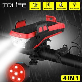 91% OFF TRLIFE Multifunction 4 IN 1 Bicycle Light Powerful Bike Flashlight Bike Horn Power Bank Bicycle Front Light As Phone Hol