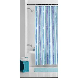 Mainstays Embossed Watercolor Stripe Fabric Shower Curtain