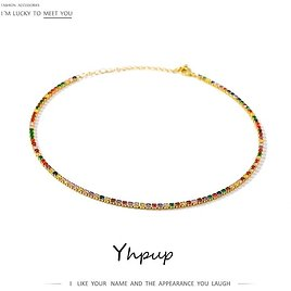 Yhpup Short Necklace Exquisite Temperament Mix Colorful Necklace Fashion Brand for Women Party Gala Jewelry Anniversary Gift New