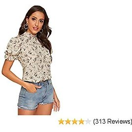 Romwe Women's Floral Print Ruffle Puff Short Sleeve Casual Blouse Tops