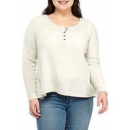 TRUE CRAFT Plus Size Waffle Henley Top