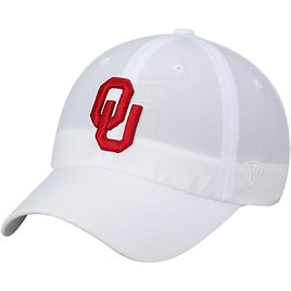 Top of The World - Oklahoma Sooners Top of The World Primary Logo Staple Adjustable Hat - White - OSFA