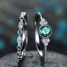 Vintage Blue Green Color Halo 925 Sterling Silver Wedding Ring Set for Women Lady Anniversary Gift Jewelry Bulk Sell R5721