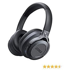 ANC Wireless Headphone,Active Noise Cancellation Wirelesss Over-Ear Headset, Bluetooth 5.0 Headphones with Microphone/Deep Bass for Workout/Cellphone/Travel, Black
