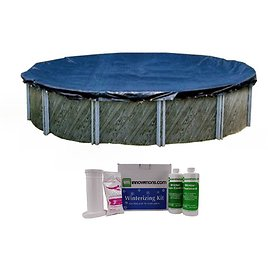 Swimline 24 Foot Round Above Ground Pool Cover with Winterizing Chemical Kit