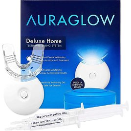 AuraGlow Best Teeth Whitening Kit, LED Light Effect, 35% Carbamide Peroxide, (2) 5ml Gel Syringes, Tray and Case
