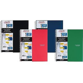 """Five Star 1-Subject Notebook, 8.5"""" X 11"""", College Ruled, 100 Sheets, Assorted Colors (06206/08076)"""