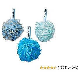 Loofah Bath Shower Sponge Shower Pouf Loofahs Body Scrubber Ball (Pack of 3) (Multi-Colored)
