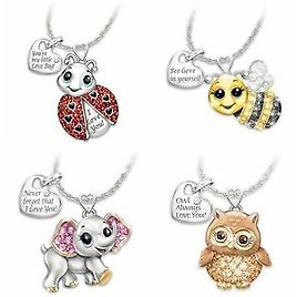 925 Silver White Topaz Owl Animal Pendant Choker Necklace Chain Jewelry Lovely