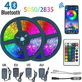 US $7.21 63% OFF LED Strip Light Bluetooth Luces Led RGB 5050 2835 Waterproof Flexible Lamp Tape Ribbon With Diode Tape DC 12V 5M 10M 32.8ft 20M LED Strips  - AliExpress