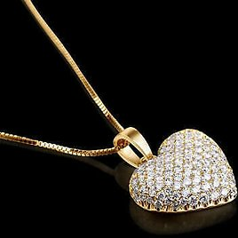 LADIES 1 CT ROUND CUT DIAMOND HEART PENDANT AND YELLOW GOLD NECKLACE CHAIN SET