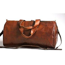 Large Vintage Men Real Prime Quality Leather Tote Luggage Bag Travel Duffle Gym 716337226401