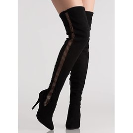 Caught In The Netted Thigh-High Boots