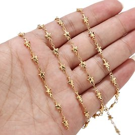 5 Meter Handmade Soldered Real Gold Plated Stainless Steel Chain with Star Charms for Jewelry Making DIY Bracelet Choker Anklet