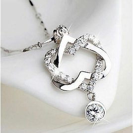 925 Silver Filled Women Heart Pendant Necklace Chain Charms Jewelry