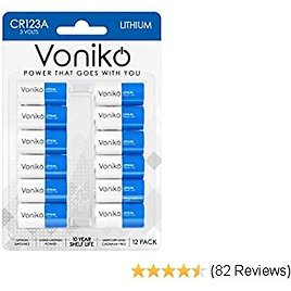 VONIKO 3 Volt CR123A Battery 12 Pack – Photo Lithium Battery – CR123A Lithium Batteries 10 Years Shelf Life - Perfect for Flashlight and Medical Equipment