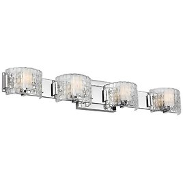 Feiss Brinton 4-Light Chrome LED Vanity Light with Clear Basket Weave Shades VS24344CH-L1