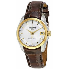 Tissot Couturier Powermatic 80 Silver Dial Ladies Leather Watch T0352072603100 7611608275382