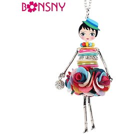US $3.52 64% OFF Bonsny Shell Crystal Doll Necklace Dress Handmade French Doll Pendant 2016 News Alloy Girl Women Flower Fashion Jewelry jewelry Exhibition dresses for Short Girlsjewelry One Shoulder Dress - AliExpress