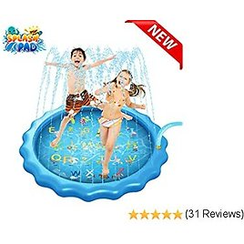"""CORST Sprinkler for Kids 68"""" Inflatable Splash Pad Kids Pool, Water Play Mat Swimming Pool for Yard Outdoor Kids Toddlers"""