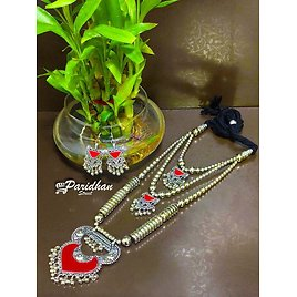 Long Necklaces with Ghungroo Multicolor Oxidised Navratri Set with Earrings -Indian Ethnic Navratri Jewelry Set - Silve Oxidised Jewelry Set