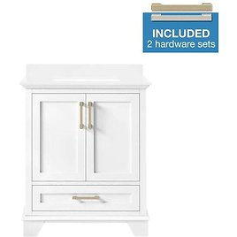 Allen + Roth Hamburg 30-in White Single Sink Bathroom Vanity with White Cultured Marble Top