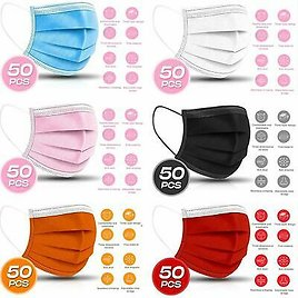 3-PLY Layer Disposable Face Mask Dust Filter Safety Respirator Breathable[50-PC]