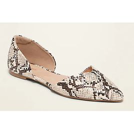 Faux-Snakeskin D'Orsay Flats for Women | Old Navy