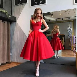 US $43.35 49% OFF|New Arrival Spaghetti Evening Dresse Formal Vestido Noiva Sereia Red Satin Prom Party Robe De Soiree Sweetheart Cheap Lace Up|Evening Dresses| - AliExpress