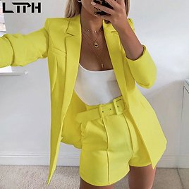 US $24.95 35% OFF|hot Sale New 2019 Ins Explosion Women's Clothing Autumn Long Sleeve Cardigan Jacket Shorts Solid Color Two Piece Lady Suit Real| | - AliExpress