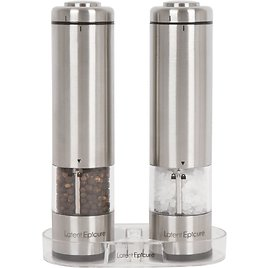 Luntus Stainless Steel Salt And Pepper Grinder 2 In 1 Manual Salt /& Pepper Mill Shakers Refillable With Dual Adjustable Coarseness And Clear Acrylic Body