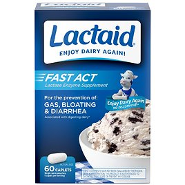Lactaid Fast Act Lactose Intolerance Caplets, 60 Travel Packs of 1-ct