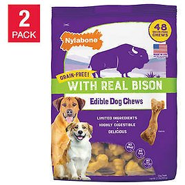 Nylabone Grain-Free with Real Bison Edible Dog Chews, 48-count, 2-pack