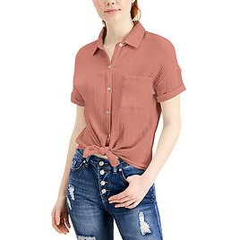 Juniors' Relaxed Button-Up Top