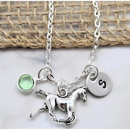 Horse Necklace - Personalized Birthstone & Initial - Mini Horse Necklace - Equestrian Necklace - Horse Jewelry for Girl - Running Horse Gift