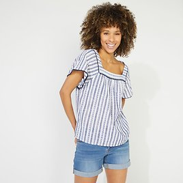 NAUTICA JEANS CO. EYELET STRIPED SQUARE NECK TOP