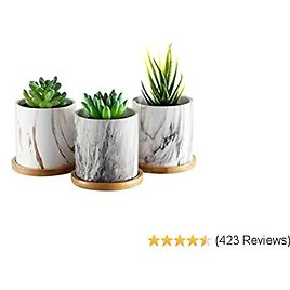 Dsben 3.2 Inch Succulent Plant Pots, Small Marble Pattern Ceramic Flower Planter Indoor with Bamboo Tray for Cactus Herb Home, Set of 3 (Plants Not Included)