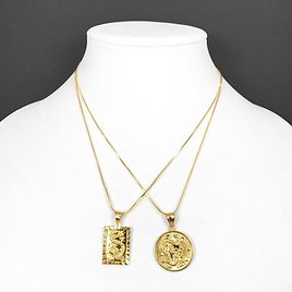 18k Gold Filled Medallion Pendant Necklace Circle or Square Dragon with Chain