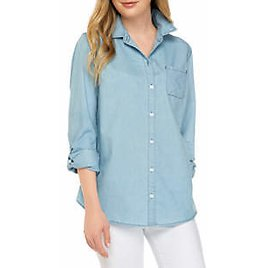Kim Rogers® Petite 3/4 Sleeve Essential Woven Chambray Top