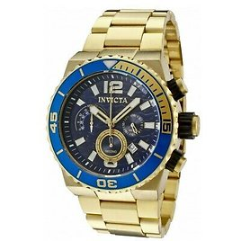 Invicta Pro Diver Men's 48mm Blue Ocean Waves Dial Gold Chronograph Watch 1344 843836013444