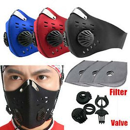 Cycling Air Purifying Face Mouth Cover Haze Washable Reusable Carbon With Filter