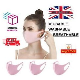 Face Protective Covering Mouth Mask Washable Reusable UK Pack of 3 Pink Masks