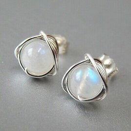 Lovely 925 Silver Rainbow Round Moonstone Stud Earrings Wedding Jewelry Gifts