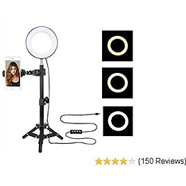 ZoMei 6'' Selfie Ring Light with Tripod Stand & Cell Phone Holder for Live Stream Makeup YouTube Video Portrait Photography,Mini LED Camera Ringlight with Ball Head for IPhone Xs Max XR