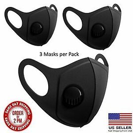 3 PACK Deal Premium Face Mask - Washable Reusable Lightweight W/Breathing Valve