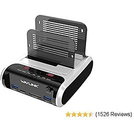 WAVLINK USB 3.0 to SATA I/II/III Dual Bay Hard Drive Docking Station with 2 USB 3.0 Ports, 2 USB Fast Charge Port and SD TF Card Reader, Duplicator/Cloner Function, for 2.5/3.5 Inch HDD SSD