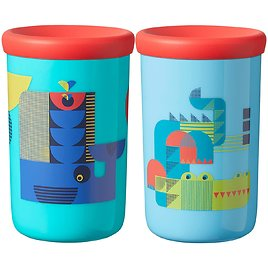 Tommee Tippee Easiflow 360° Spill-Proof Toddler Cup with Travel Lid, Whale & Crocodile Twin Pack, 12+ Months