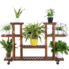 6-Shelf Rolling Wooden Flower Display Stand